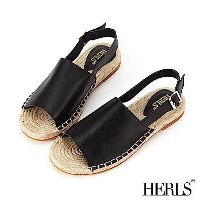 HERLS 海島邂逅 寬版真皮麻底涼鞋-黑色