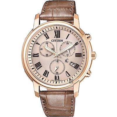 CITIZEN星辰 XC 光動能羅馬計時女錶-香檳金x褐色/38mm(FB1433-01P