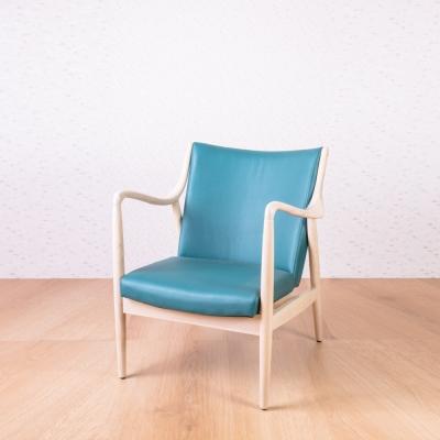 北歐風-歐克湖水綠洗白全實木休閒椅-78x70x81cm