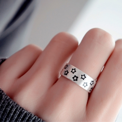 梨花HaNA 925銀星空下的燦爛中性開口戒指