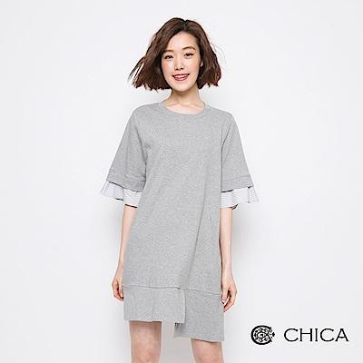 CHICA 率性街頭不規則拼接設計洋裝(3色)