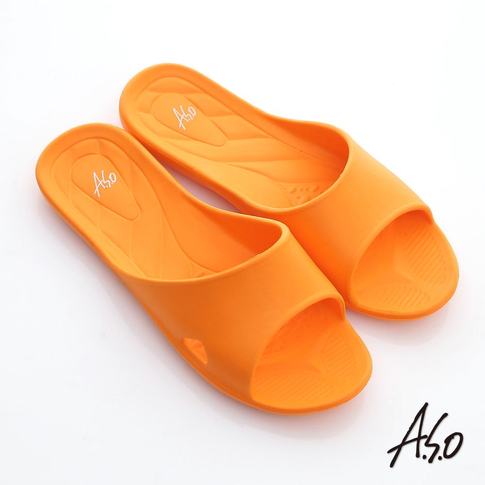 A.S.O 輕量系列 輕盈舒適居家拖鞋 橘