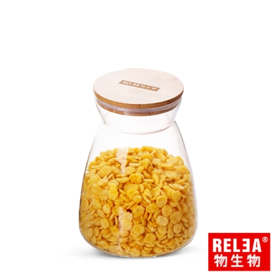 香港RELEA物生物 竹蓋梯形耐熱玻璃密封罐1100ml