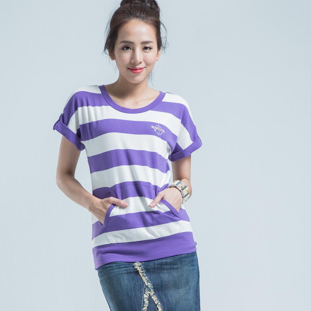BOBSON 橫條紋連袖上衣-紫色