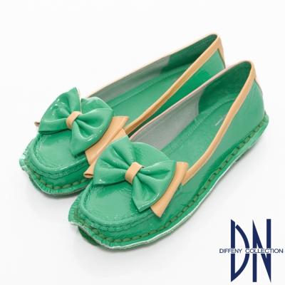 DN-舒適滿分-鏡面牛皮蝴蝶結手縫包鞋-綠
