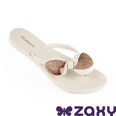 Zaxy 巴西 女 清新蝴蝶夾腳拖鞋-米色/金色