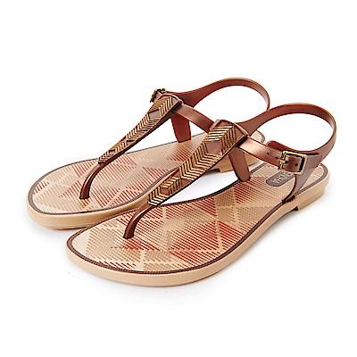 GRENDHA 時尚菱格紋T字帶涼鞋-古銅金