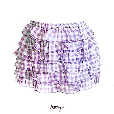 Annys清新格紋蛋糕小短裙*1185紫