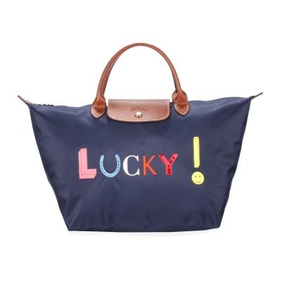 Longchamp Le Pliage Lucky刺繡字樣中型水餃包(短提把/海軍藍)