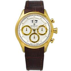 BENTLEY 賓利 三眼計時日期日本機芯德國製造真皮手錶-白x金框x咖啡/42mm
