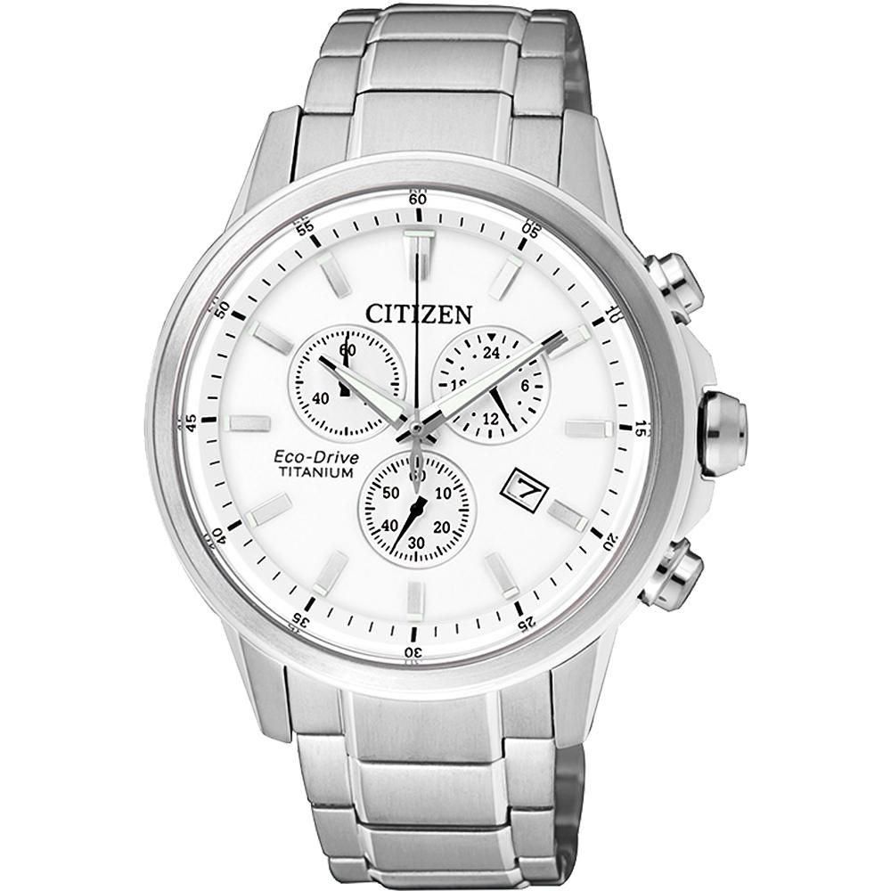 CITIZEN ECO-Drive 鈦金屬計時腕錶(AT2340-81A)-銀/42mm