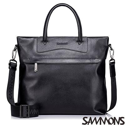 SAMMONS-真皮馬修斯率性公事包-潮流黑