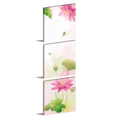 123點點貼-三聯式壁貼重覆黏貼窗貼無痕不殘膠-蓮花語30*30cm
