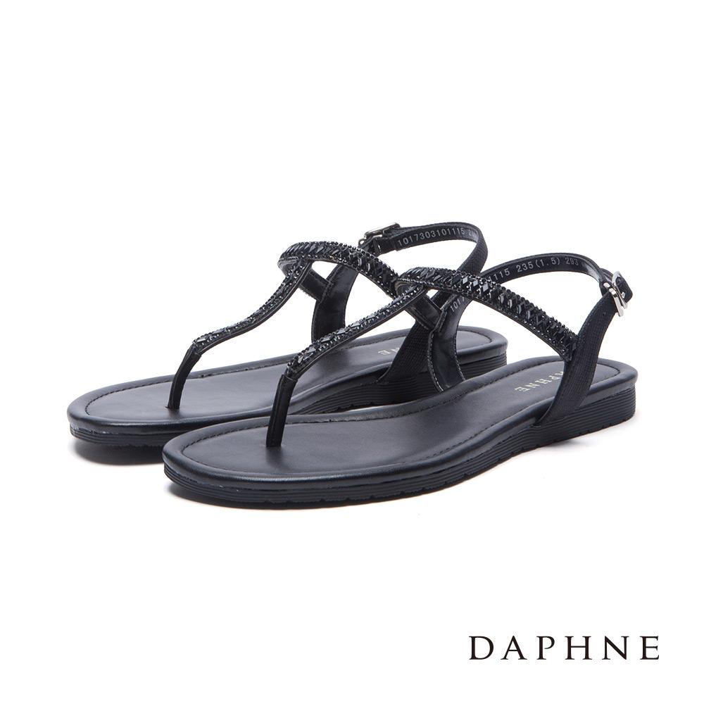 達芙妮DAPHNE涼鞋-菱形水鑽拼貼T字平底涼鞋-黑8H
