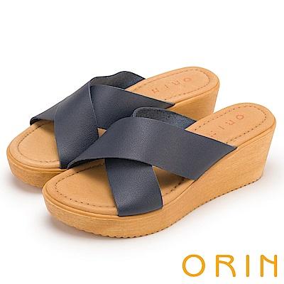 ORIN 簡約舒適 造型交叉牛皮舒適楔型拖鞋-藍色