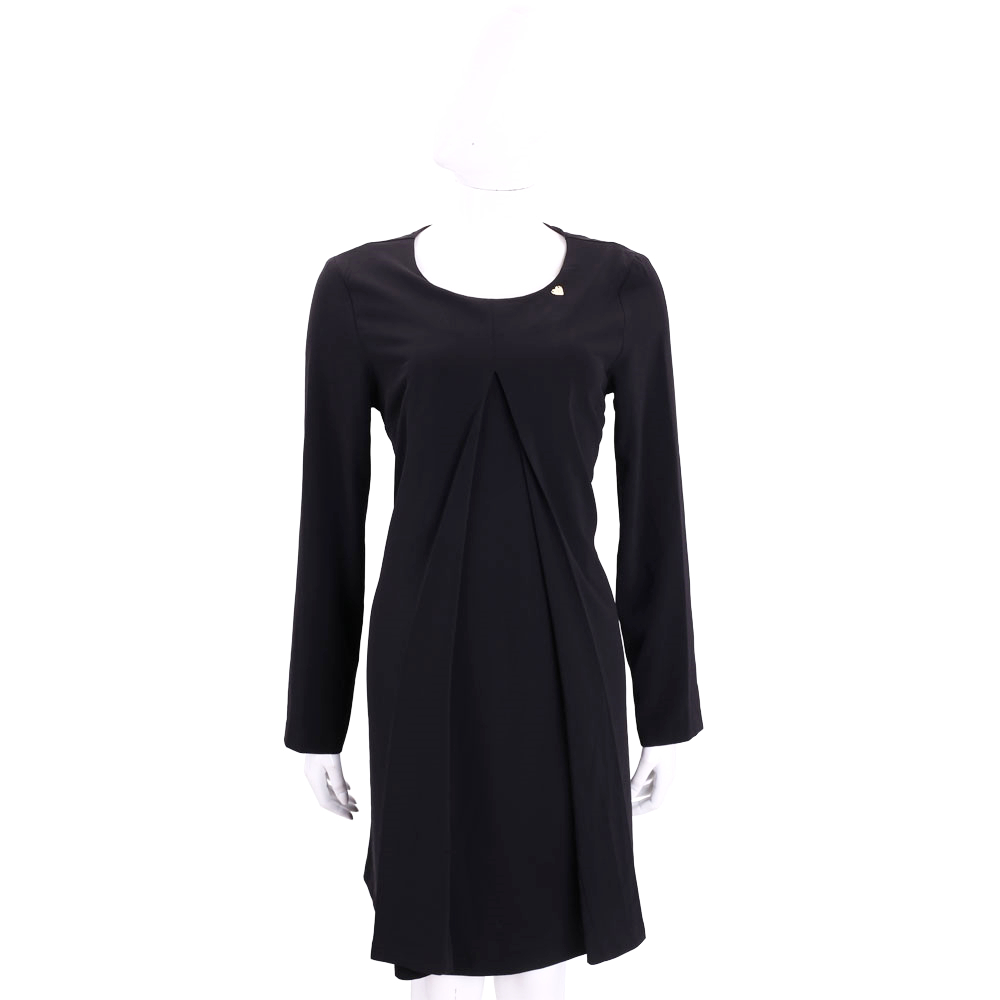 BLUGIRL-FOLIES 黑色抓摺設計長袖洋裝