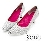 GDC-進口羊皮特殊趣味復古女伶跟鞋-銀色