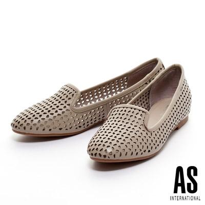 AS-細緻雕花打洞造型樂福平底休閒鞋-米