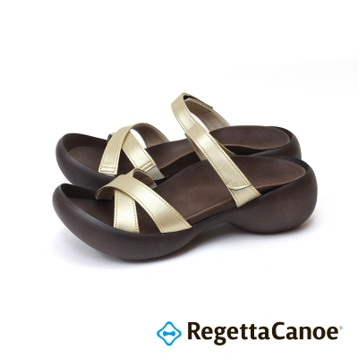 RegettaCanoe-交叉皮革鞋面 蛋型鞋底樂步鞋-銀金色