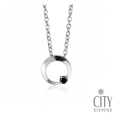 City Diamond【黑色篇章】10分黑鑽石『花好月圓』鑽石項鍊(白K)