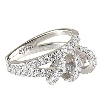 apm MONACO PIERCING系列晶鑽鑲飾圓環造型單只純銀耳骨夾耳環(銀)