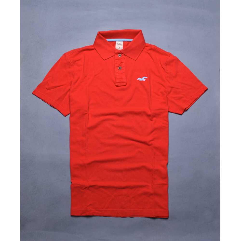 HOLLISTER Co. 雙色紅海鷗立體刺繡 POLO衫-紅