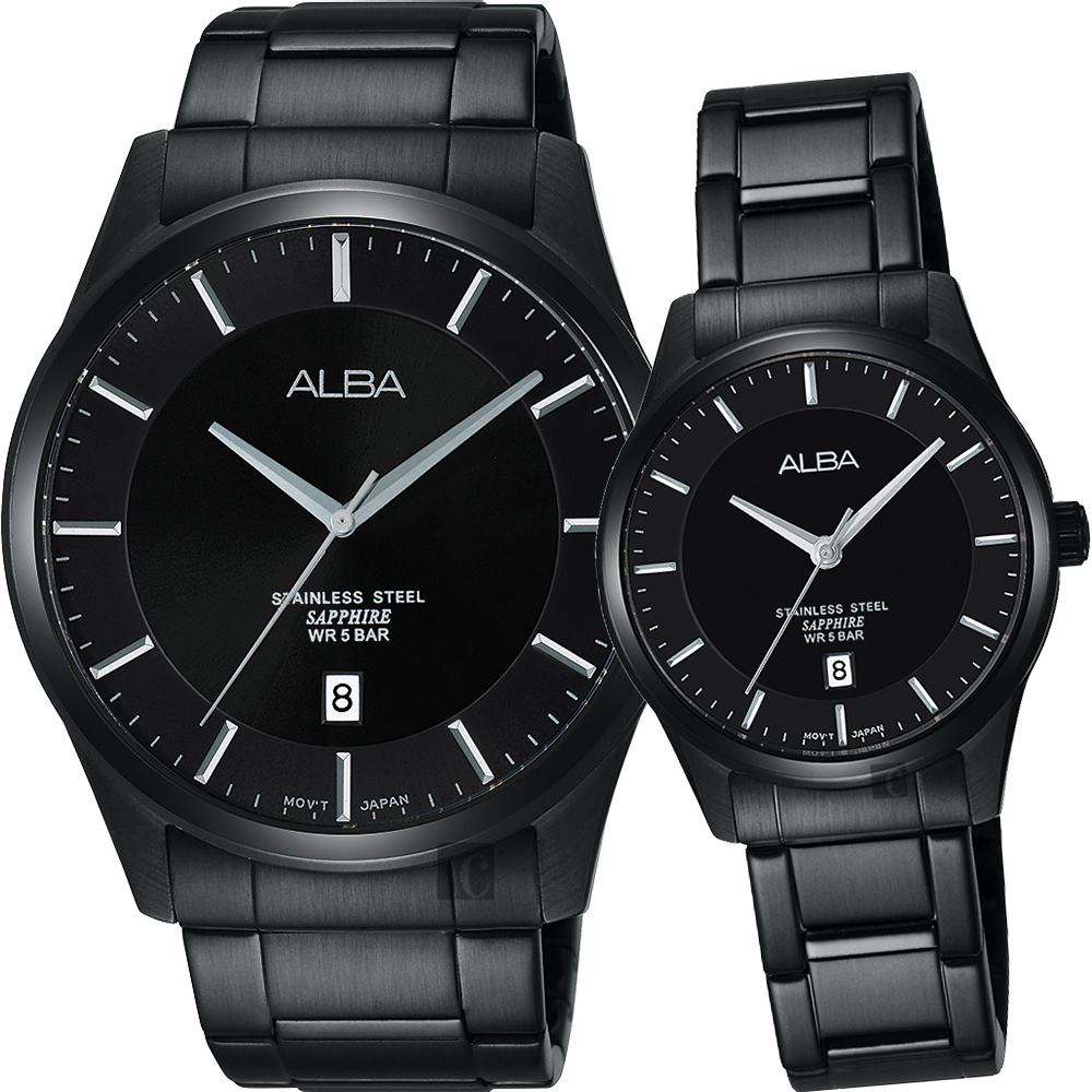 ALBA 城市簡約時尚對錶(AS9C91X1+AH7M19X1)-鍍黑/40+28mm