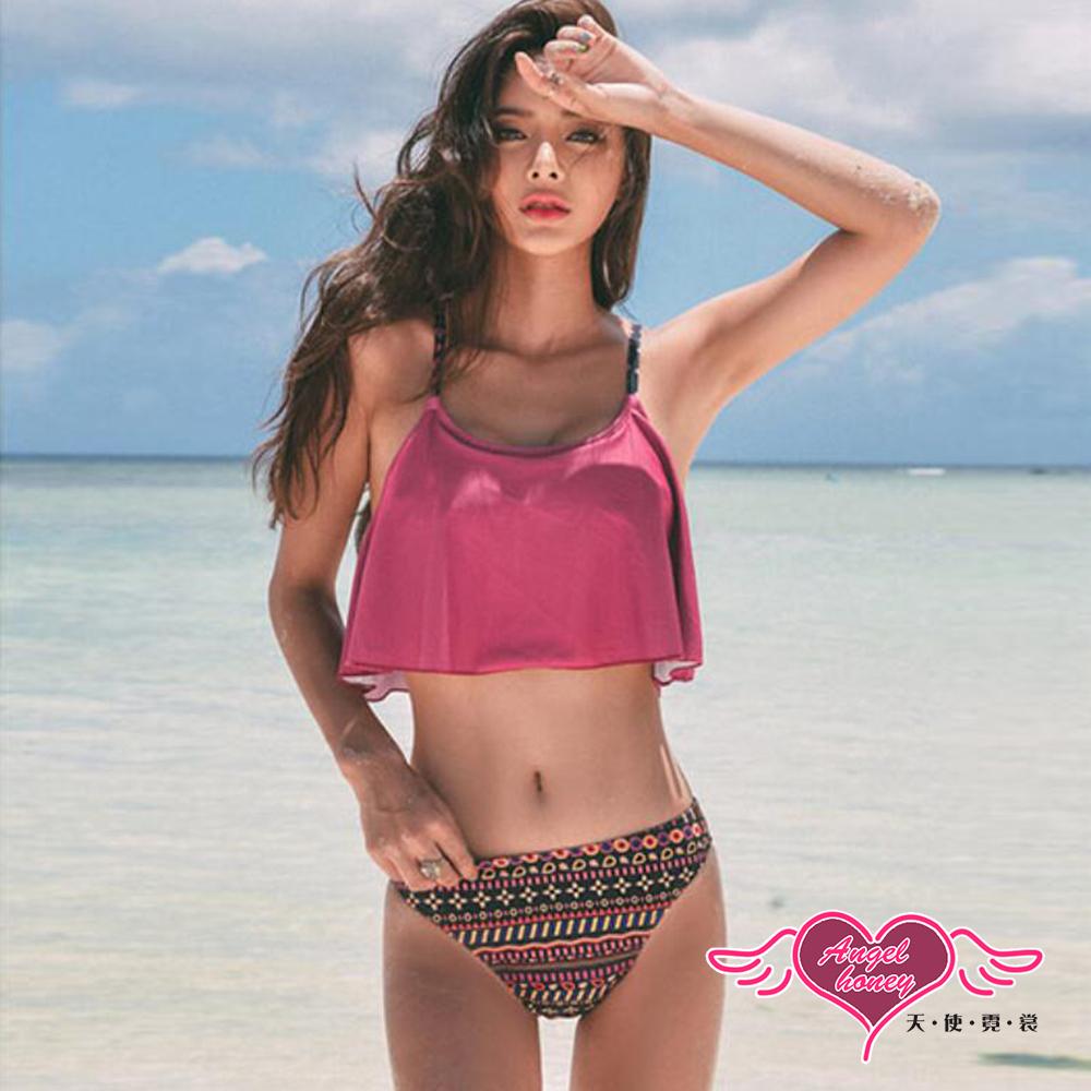 泳衣 熱情夏島 鋼圈二件式泳裝(紫紅M~XL) AngelHoney天使霓裳