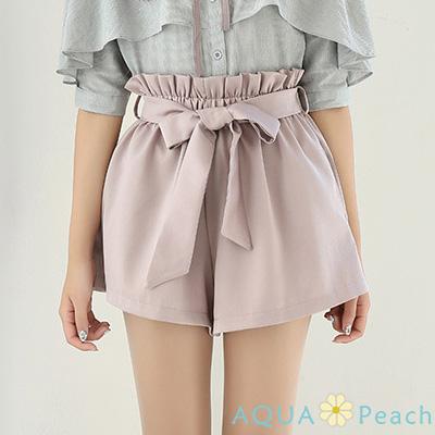 純色附綁帶花苞腰緞面短褲 (共三色)-AQUA Peach