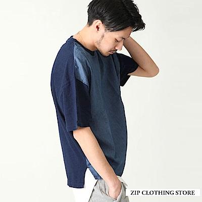 拼接丹寧牛仔寬版TEE(3色) ZIP日本男裝
