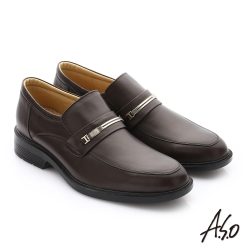 A.S.O 頂級氣墊 油感軟牛皮奈米直套紳士皮鞋 咖啡色