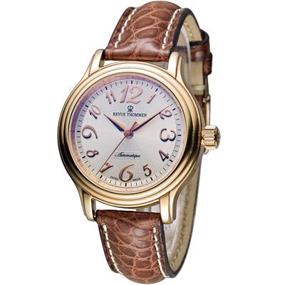 梭曼 Revue Thommen Ladies 優雅自信機械腕錶-玫瑰金x咖啡/34mm