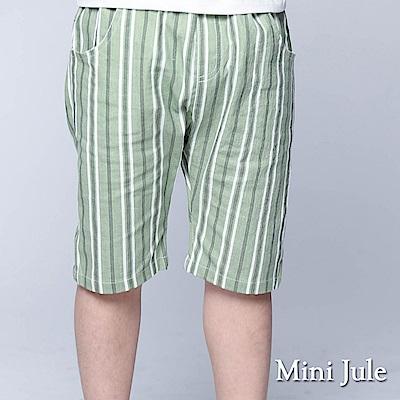 Mini Jule 童裝-短褲 粗細條紋口袋鬆緊短褲(綠)