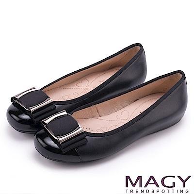 MAGY OL通勤專屬 方型飾釦牛皮平底娃娃鞋-黑色