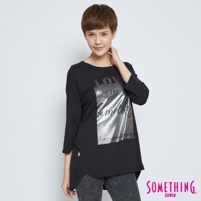 SOMETHING 輕柔七分袖長版上衣-女-黑色