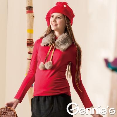 Gennie's奇妮-百搭立領彈性素色孕婦上衣-紅/粉(G3Z04)