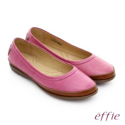 effie 輕量樂活 真皮裂紋雙色奈米平底鞋 桃粉紅