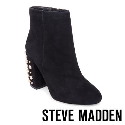 STEVE MADDEN-YVETTE-BLACK-麂皮珍珠水鑽粗跟短筒靴-黑色