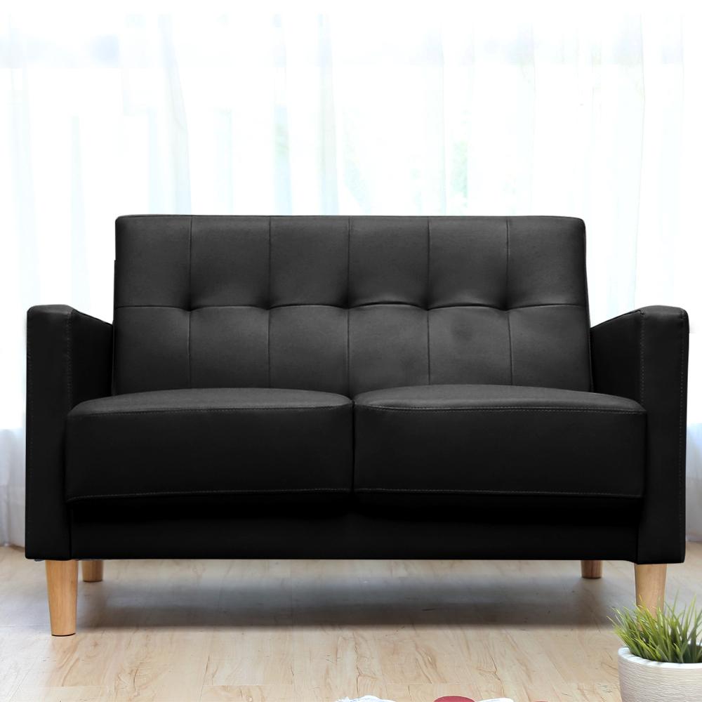 【H&D】Aimee 艾咪復古雙人皮沙發-黑色