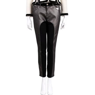 VERSACE 黑灰色拼接設計九分褲