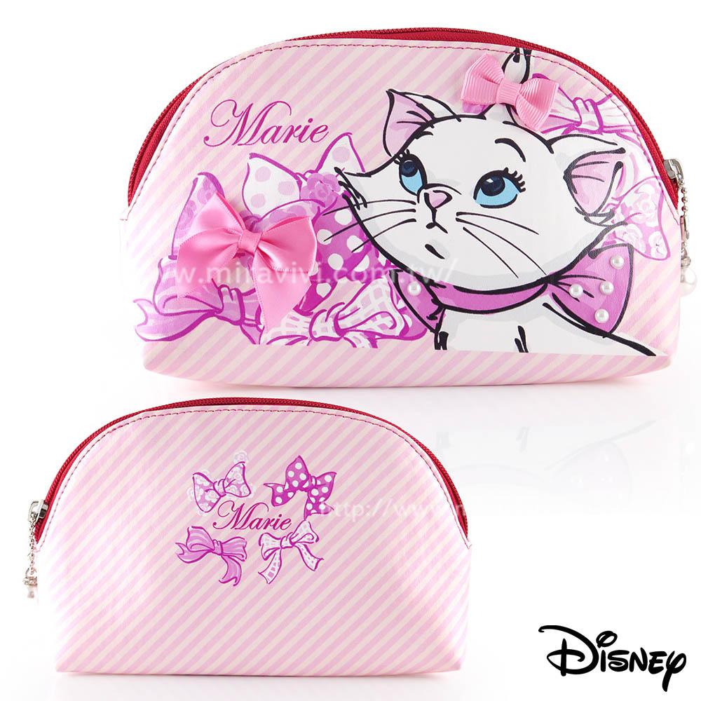 Disney手繪風貼鑽貝殼化妝包收納包-瑪麗貓