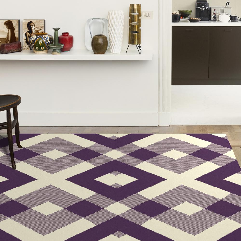 范登伯格 - 艾薇兒 多變視覺地毯 - 菱格 (紫 - 140 x 200cm)