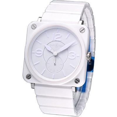 Bell & Ross BR-S 精密白陶瓷時尚小秒針腕錶-白/39mm