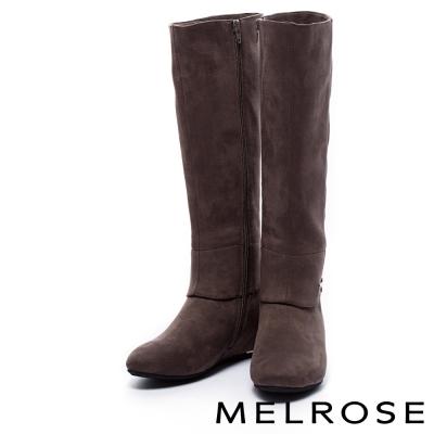 長靴 MELROSE 經典素色麂布內增高長靴-灰