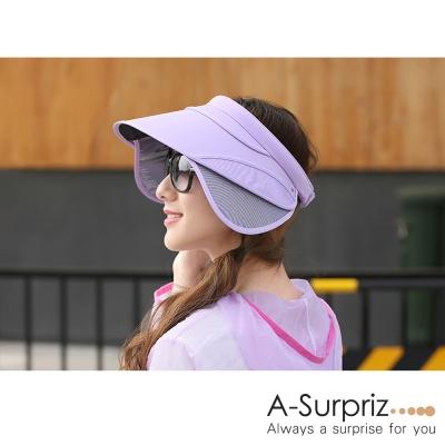 A-Surpriz 空頂伸縮鏡片抗UV帽(紫)附防風繩