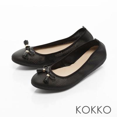 KOKKO-復古雅緻蝴蝶結真皮休閒平底鞋-純黑