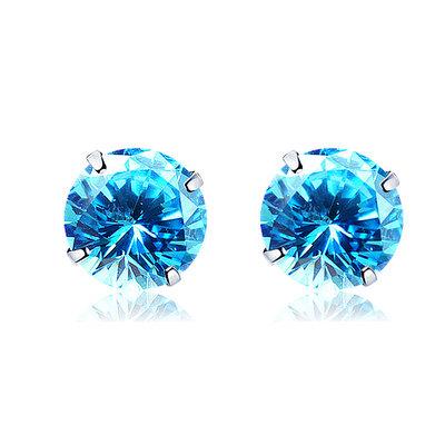 ACUBY 925純銀驚彩鋯石單鑽耳環/4mm海藍
