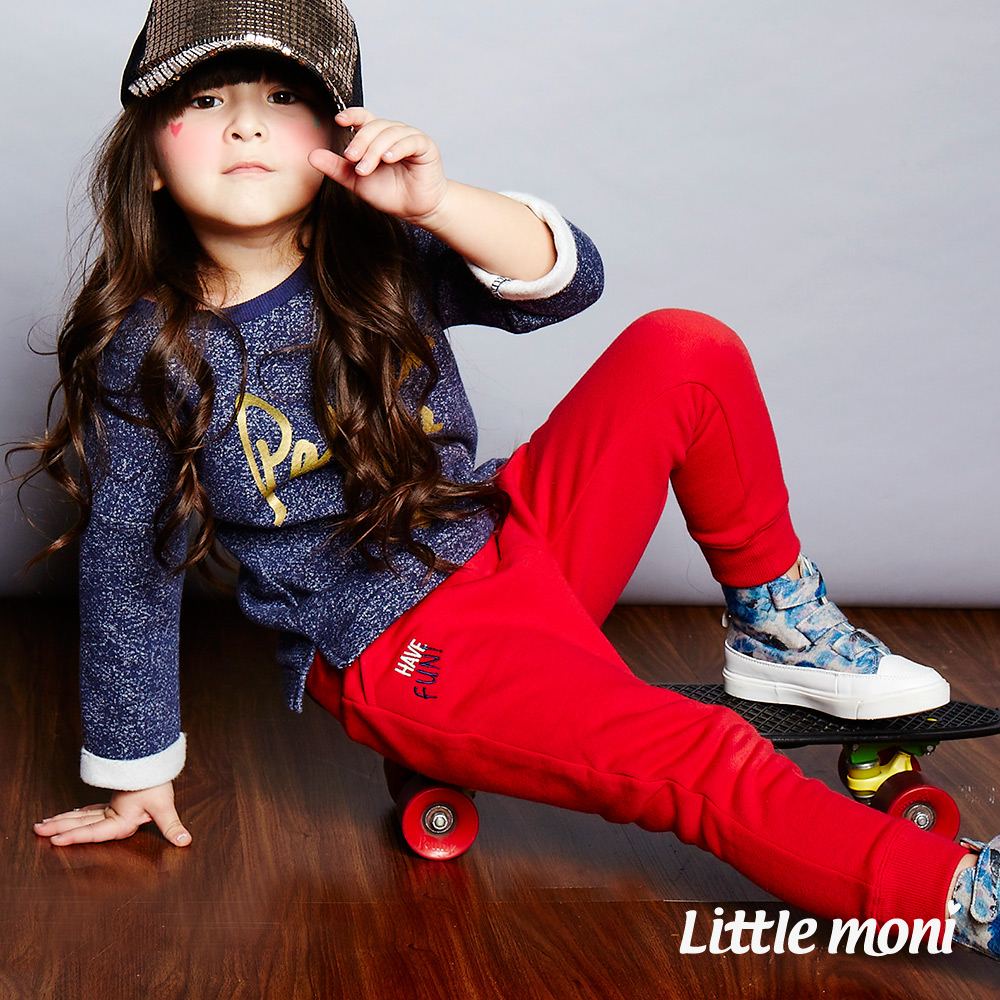 Little moni  厚棉系列內刷毛哈倫褲 紅色