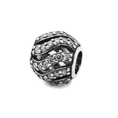 Pandora 潘朵拉 鏤空波浪鑲鋯石墜