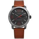 TIMEX 天美時 阿拉伯數字日期星期視窗真皮手錶-黑x咖啡/44mm